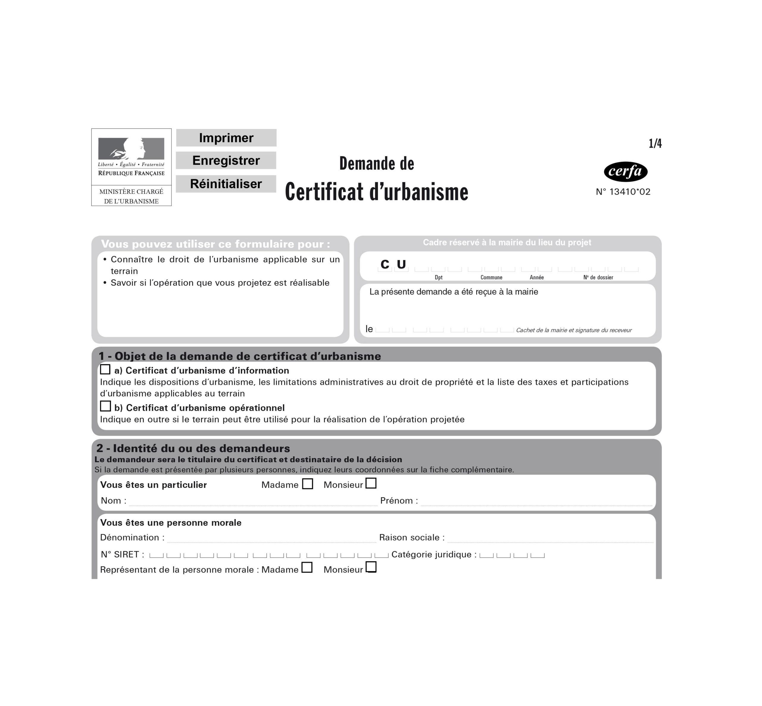 Certification d'urbanisme à remplir reglementation document administratif