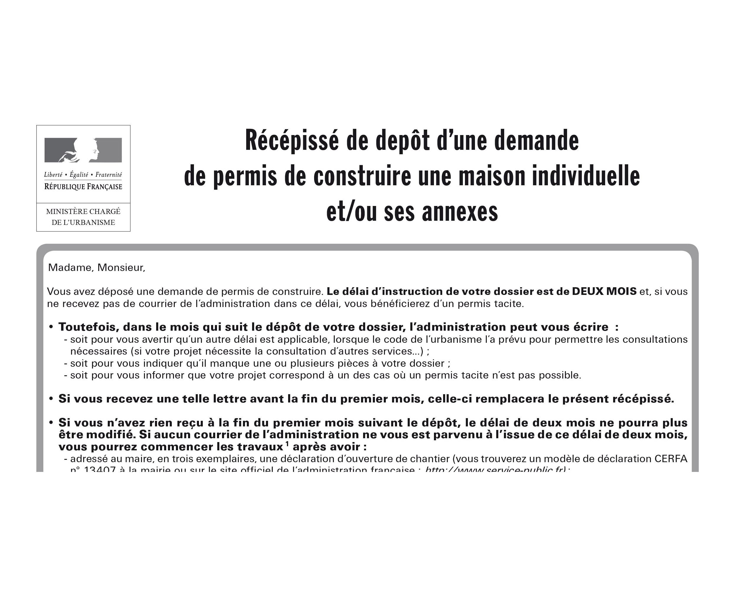 Permis de construire à remplir document officiel administratif