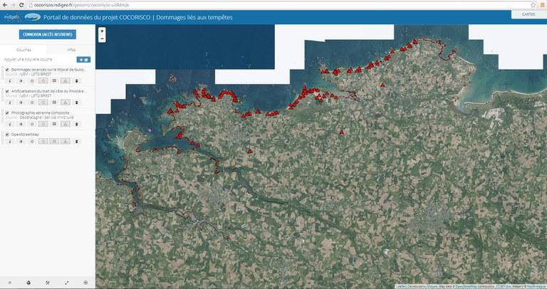 carte indigeo du projet Cocorisco mené par les chercheurs de l'Université de Bretagne Occidentale et du CNRS