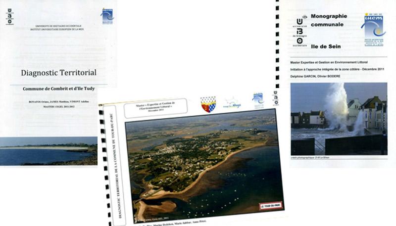 couvertures de différents rapports et diagnostics territoriaux pour des projets d'étude de risques côtiers