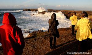 personnes de dos regardant les vagues