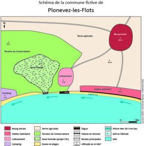 schéma explicatif avec légende de la commune fictive de Plounevez les flots