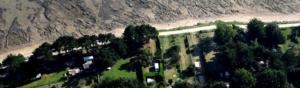 photographie aérienne d'une plage et des terrains de verdure avec des maisons
