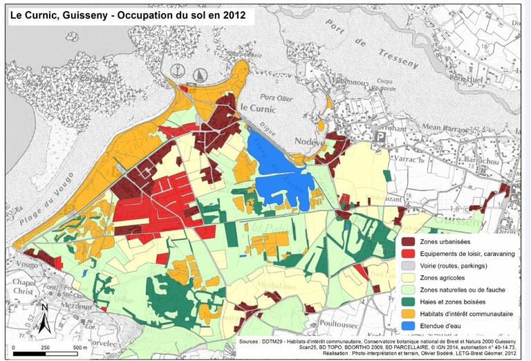 Exemple de la carte d'occupation du sol de la zone basse du Curnic à Guisseny