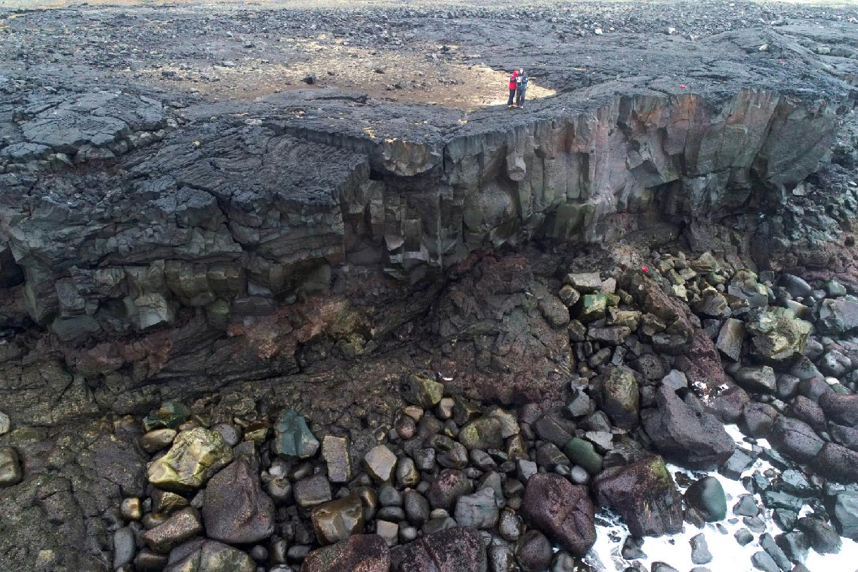 Levé topo-morphologique réalisé au drone sur le littoral rocheux du SW de l'Islande (presqu'île de Reykjanes).